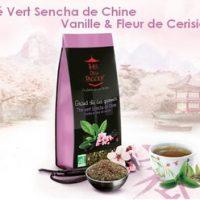 Thé vert sencha de chine, vanille et fleur de cerisier.