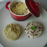 Cassolette de Saint-Jacques, crevettes, timbale de riz sauvage et quinoa