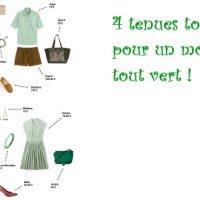 4 tenues toutes vertes pour un mois d'avril… tout vert !