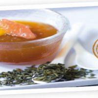 Gelée de thé vert aux agrumes, salade d'agrumes pelés à vif