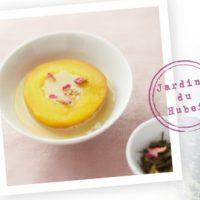 Pêche pochée au Thé Vert Sencha Vanille et Fleur de Cerisier et sa crème onctueuse