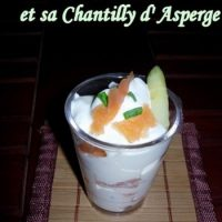 Verrine Ricotta-saumon, chantilly d'asperge.