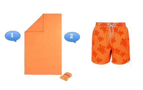 Serviette de bain et maillot homme orange