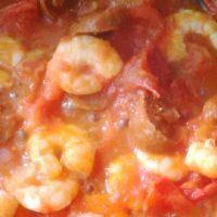 Wok crevettes et chorizo