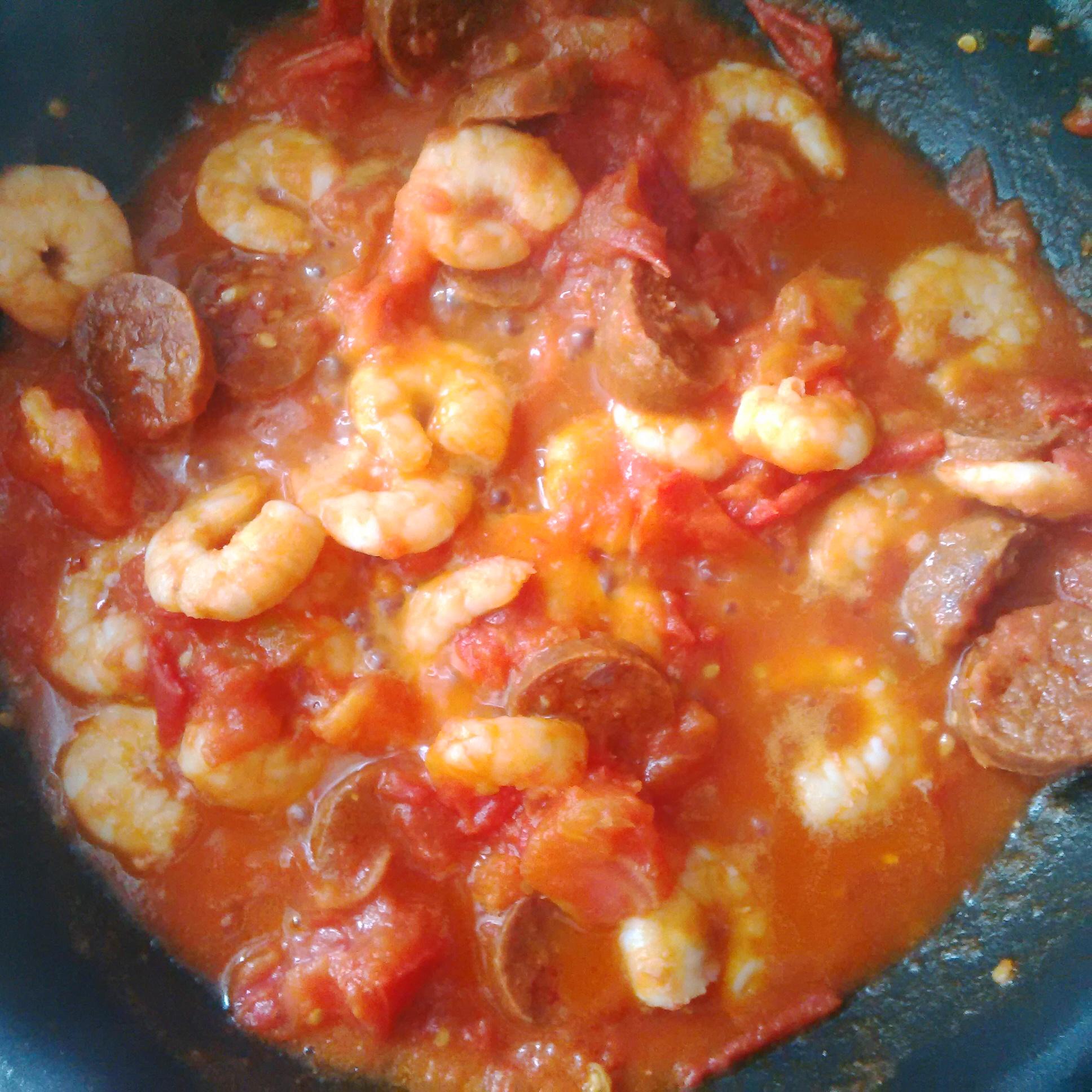 Wok crevettes chorizp