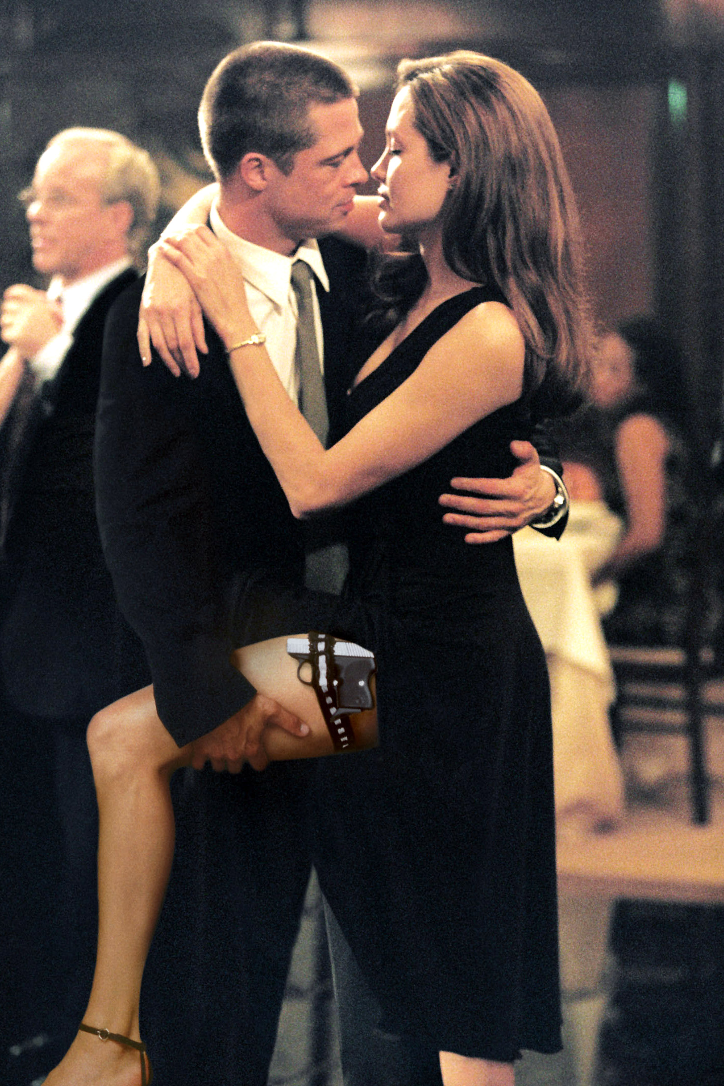 "US actors Brad Pitt and Angelina Jolie act as John and Jane Smith in the movie ""Mr. and Mrs. Smith"""