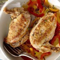 Suprême de poulet aux poivrons et beurre demi-sel