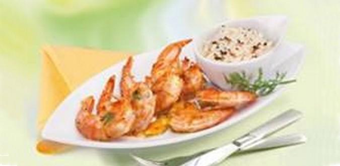Image à la une Queues de crevettes marinées au miel et à la moutarde