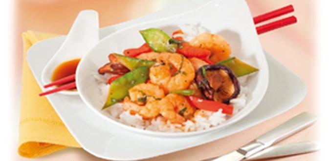 Image à la une Wok épicé de crevettes et légumes