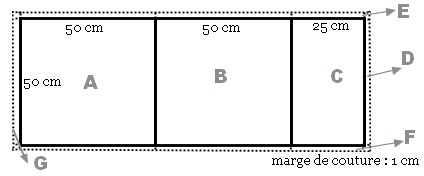 Patron pour housse de coussin 50 x 50 cm