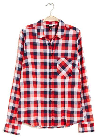 Chemise en coton bleu blanc rouge Jennyfer