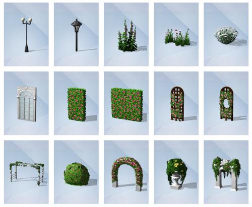 Les Sims4 Kit d'Objets Jardin Romantiques objets