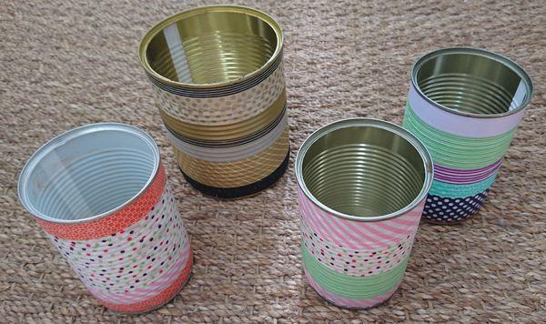 DIY masking tape boîtes de conserve