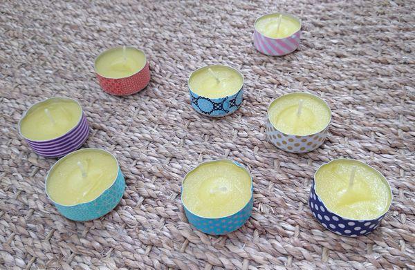 DIY masking tape bougies