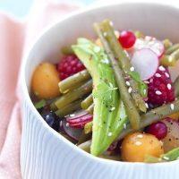 Salade sucrée-salée de haricots verts