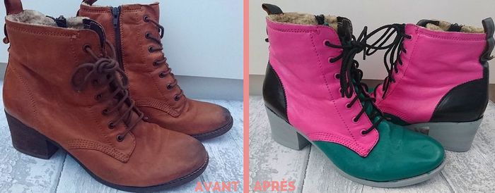 diy-bottines-color-block-rose-noir-vert-gris