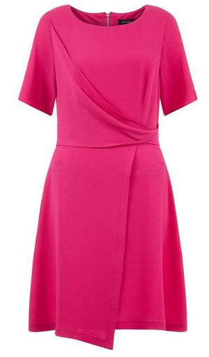 bright-pink-draped-wrap-front-short-sleeve-dress