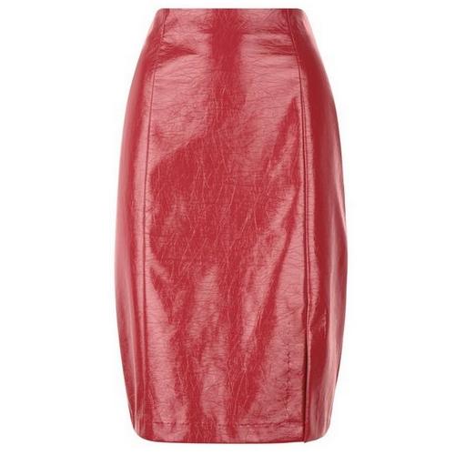 Jupe droite simili cuir rouge