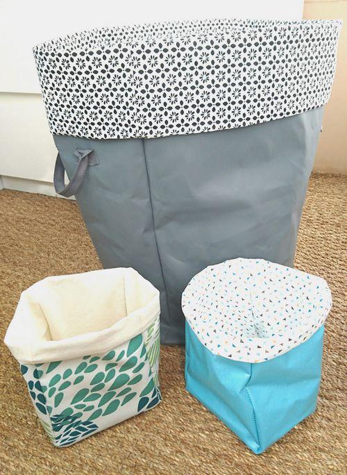 cache pot en tissu juin mais aussi utiliser comme cachepot panier linge sale grand modleu on. Black Bedroom Furniture Sets. Home Design Ideas