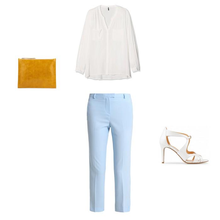 0d243d8e578862 ... avec un pantalon bleu ciel associé à une blouse fluide blanche et des  sandales à talons blanches. Pour ajouter du peps à la tenue, on ajoute une  jolie ...