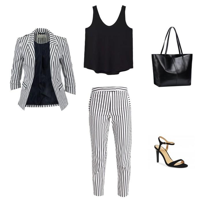 ecc2e97544b6ec On adopte un look masculin féminin avec un tailleur pantalon cigarette rayé  noir et blanc, un joli top et des sandales à talon. Et on adore !