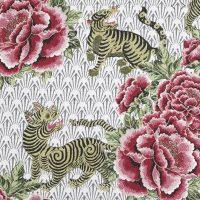 Tissu jacquard Seoul écru et rose Sophie Ferjani x Mondial Tissus