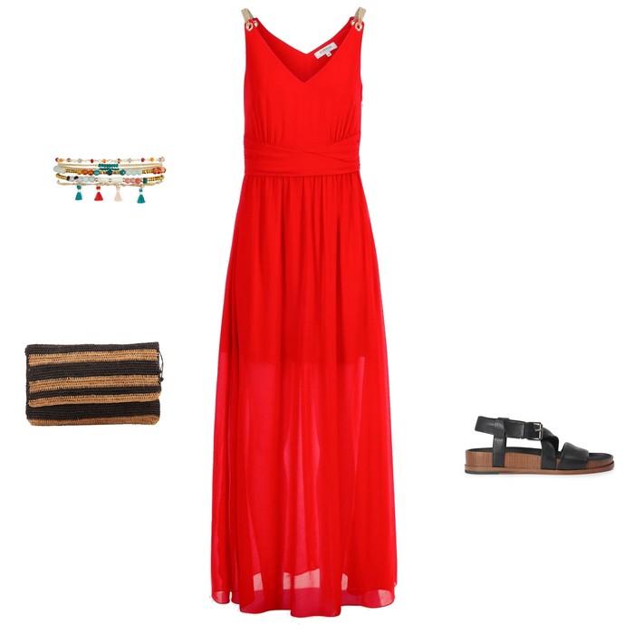 look été soldes robe longue rouge sandales sport