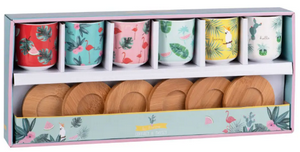 coffret 6 tasses a cafe porcelaine bambou