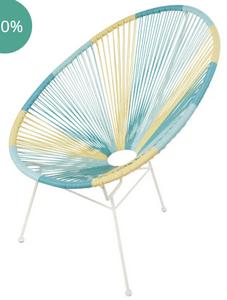 fauteuil de jardin rond resine jaune bleue turquoise