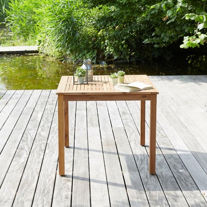 table carree bois d'acacia fsc bois dessus bois dessous