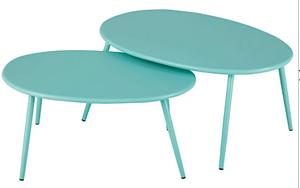 tables gigognes de jardin métal turquoise