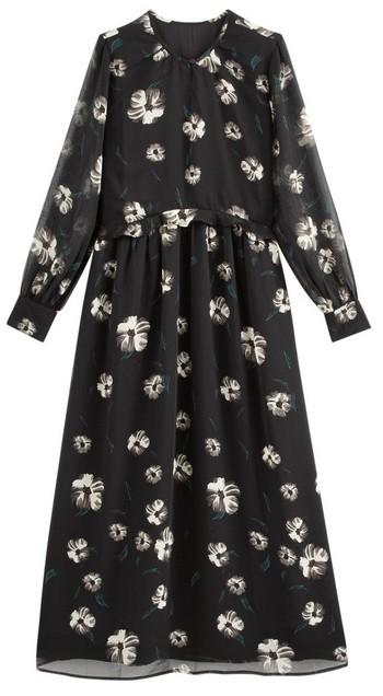 robe longue noire fleurs