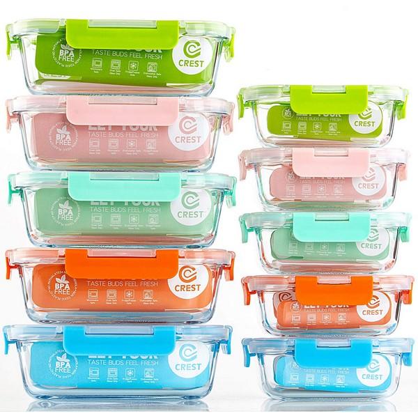 lot de 10 boîtes en verre hermétiques
