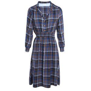 robe droite carreaux bleue
