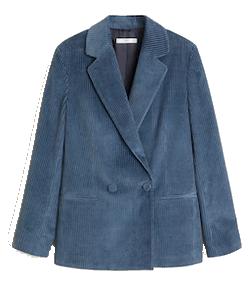 veste velours côtelé bleu mango