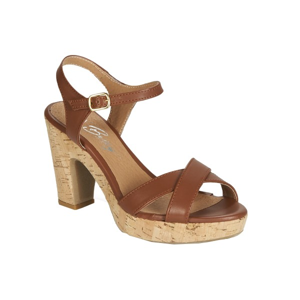 sandales compensées cuir marron Betty London Spartoo