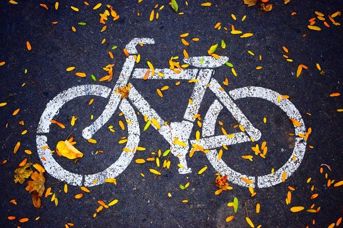 Un vélo et des feuilles sur une piste cyclable
