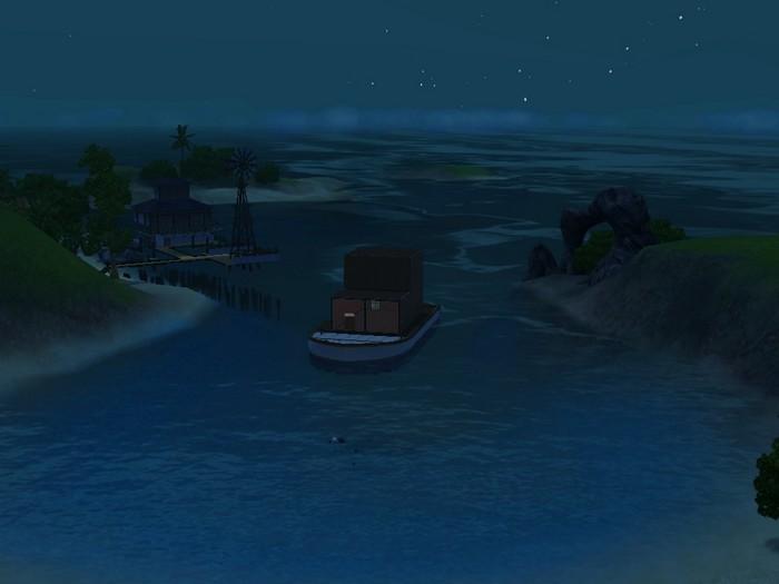 Les Sims 3 bateau isla paradiso nuit jolie vue