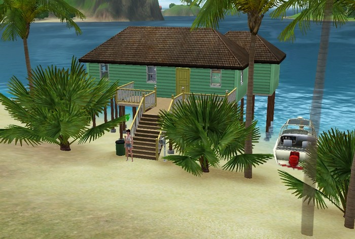 Les Sims 3 maison bois verte isla paradiso sans motherlode